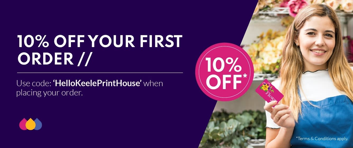 10% off your first order with code HelloKeelePrintHouse